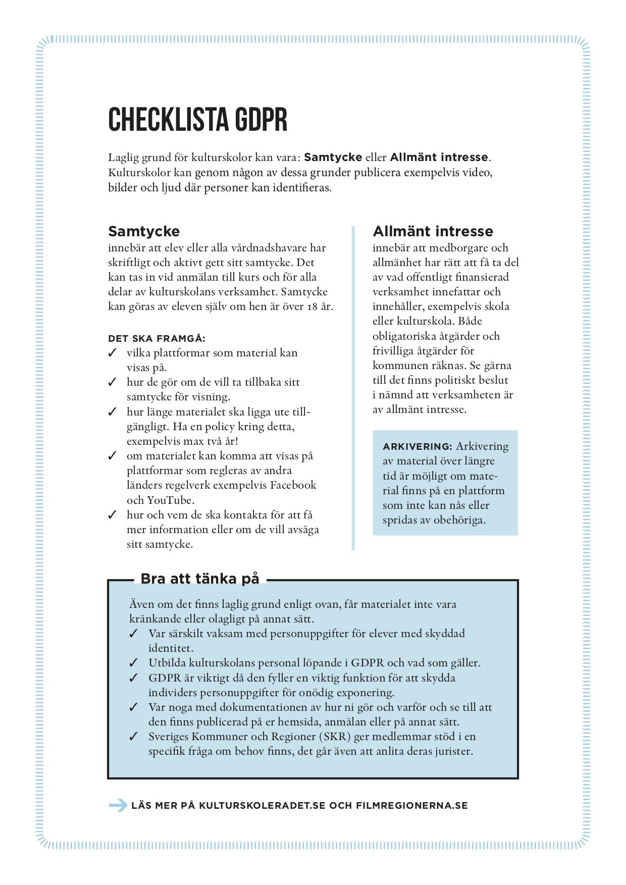 LADDA NER: Checklista GDPR Kulturskolerådet